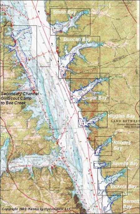 KY Lake East Side Bays North - Kentucky lakes map