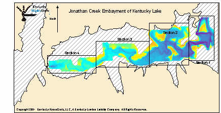 The area in color on the left is the portion of jonathan for Ky lake fishing report jonathan creek
