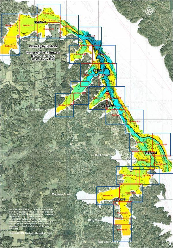 Sidescan Sonar Kentucky Lake Northwest - Kentucky lakes map